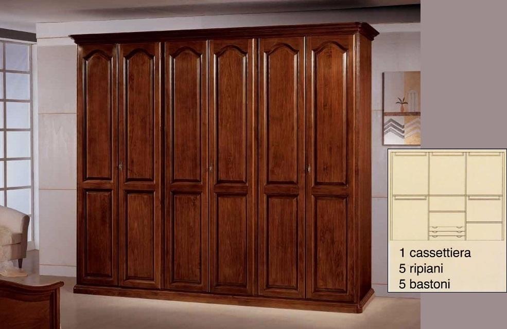 Armadi da 3 a 6 ante : Armadio 6 porte in legno massiccio