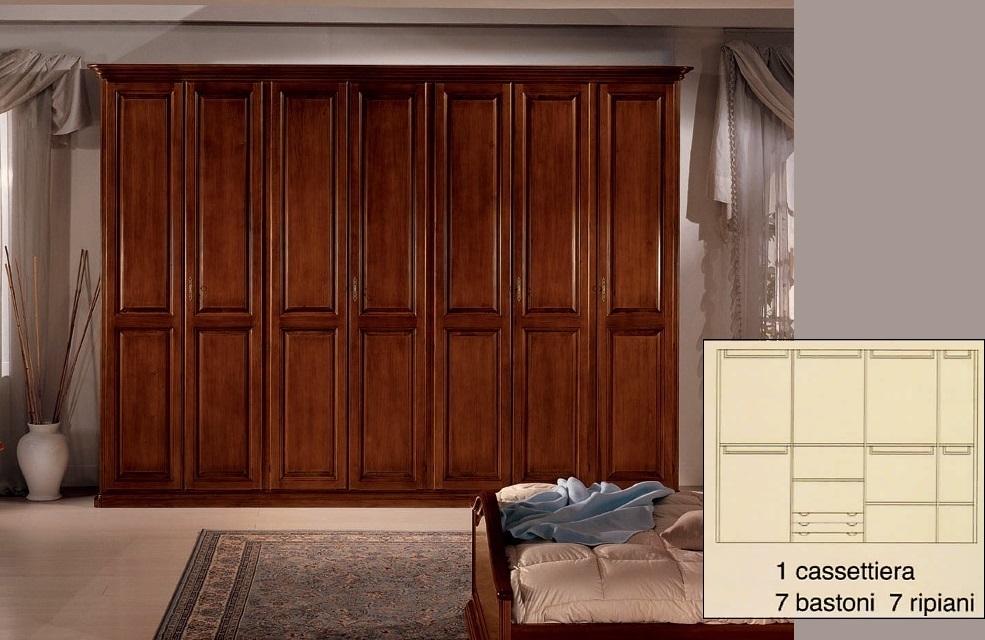 Armadi da 3 a 6 ante : Armadio 7 porte in legno massiccio