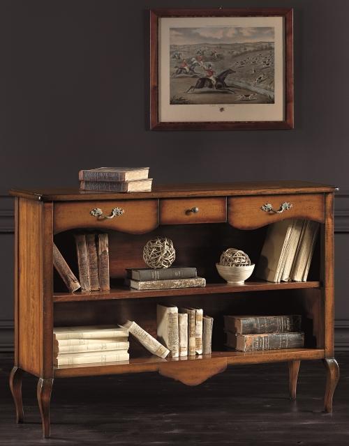 Libreria bassa a giorno in legno for Vetrinetta bassa arte povera