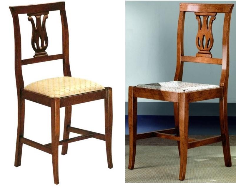 Sedie e panche sedia tulipano in legno seduta imbottita for Sedie da cucina in legno e paglia