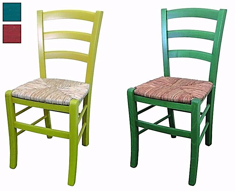 Laccati E Decorati Sedia Della Nonna Colorata Seduta Paglia