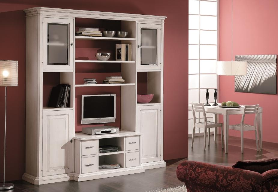 Laccati e decorati : soggiorno libreria in legno laccato bianco