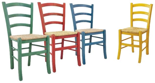 Sedie e Panche : Sedia della nonna colorata seduta paglia