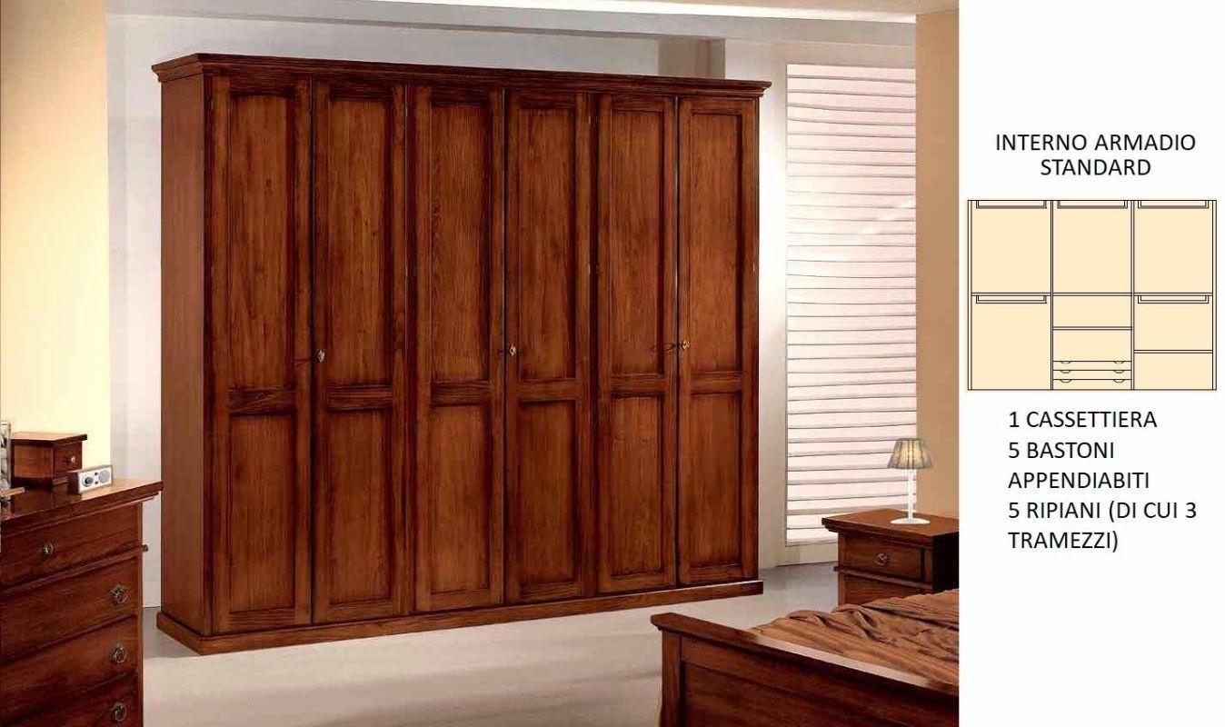 Armadi da 3 a 6 ante: Armadio 6 porte in legno massiccio