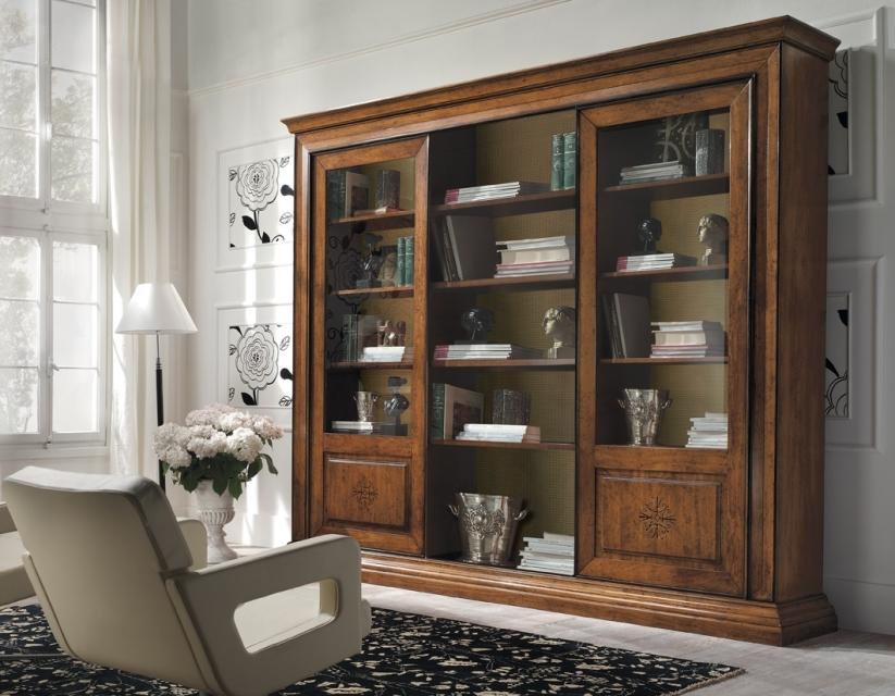 Librerie a schema fisso : Libreria con ante scorrevoli in legno