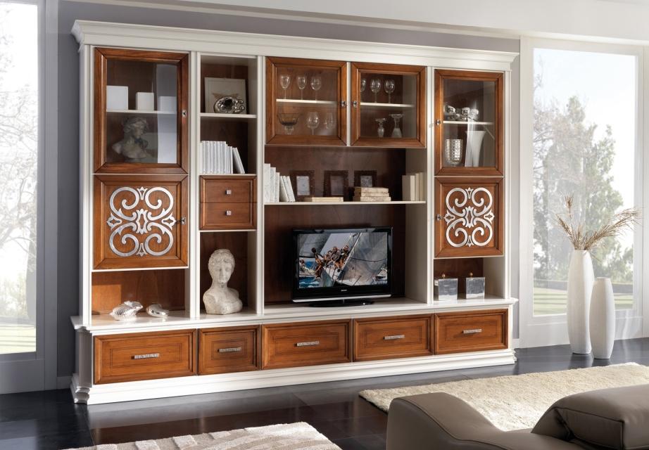 Soggiorni a schema fisso : Soggiorno artigianale in legno bicolore