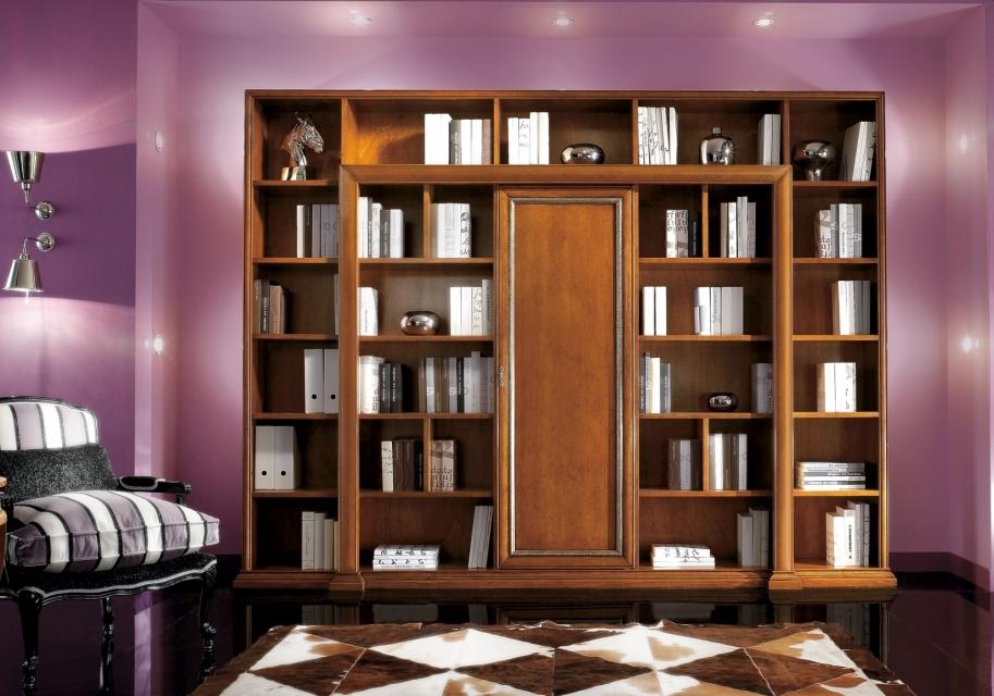 Librerie a schema fisso : parete libreria in legno massiccio