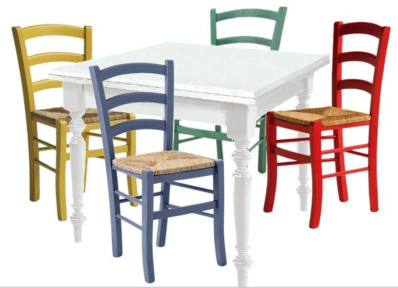 Tavolo Con Sedie Colorate.Tavoli Rettangolari E Quadrati Tavolo Quadrato Bianco 4 Sedie